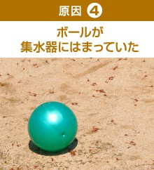 ボールが集水器にはまっていた