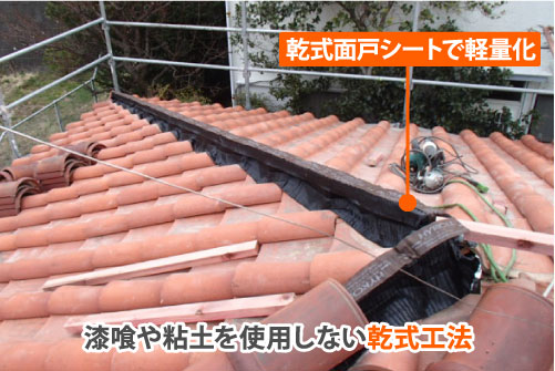 漆喰や粘土を使用しない乾式工法で施工すると屋根が軽量化できます